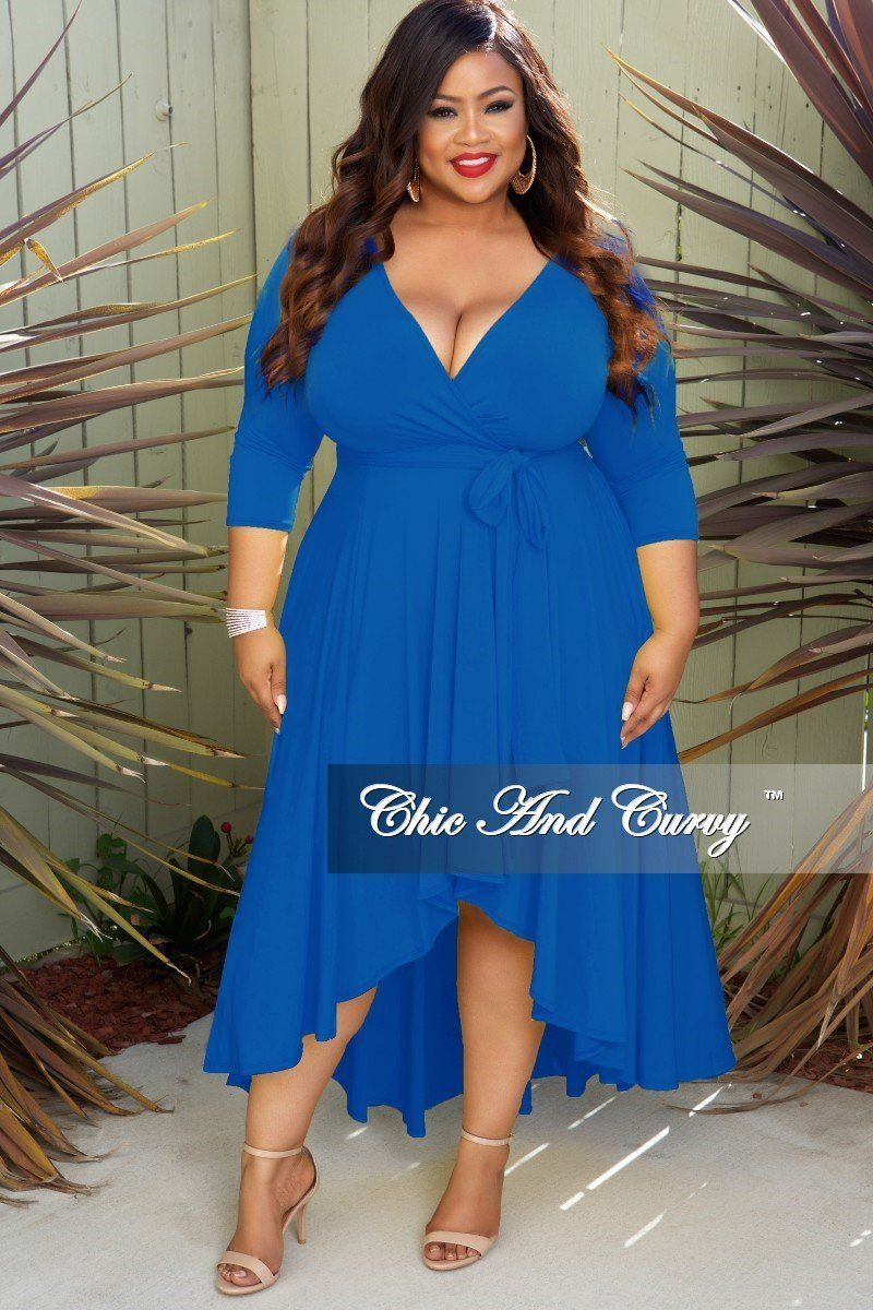 New Plus Size Faux Wrap HighLow Dress with Attached Tie
