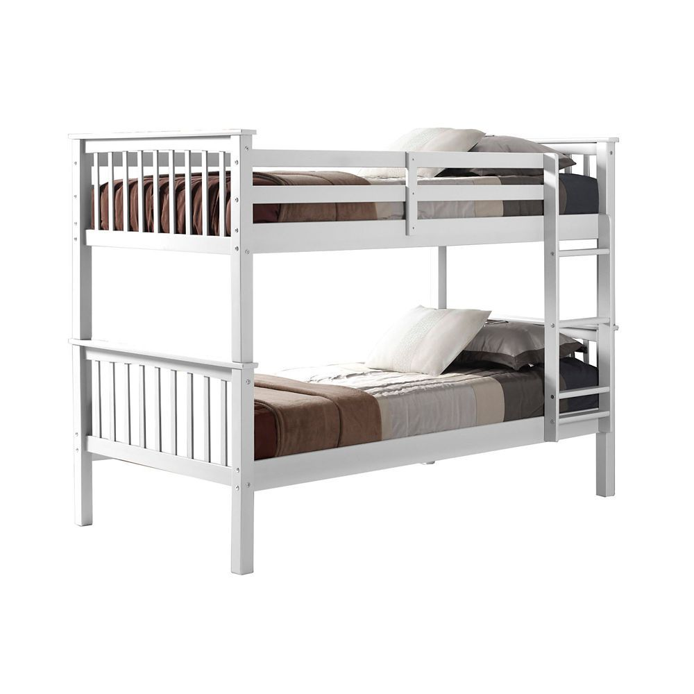 Solid Pine Wood Twin Over Twin Mission Bunk Bed White White Bunk