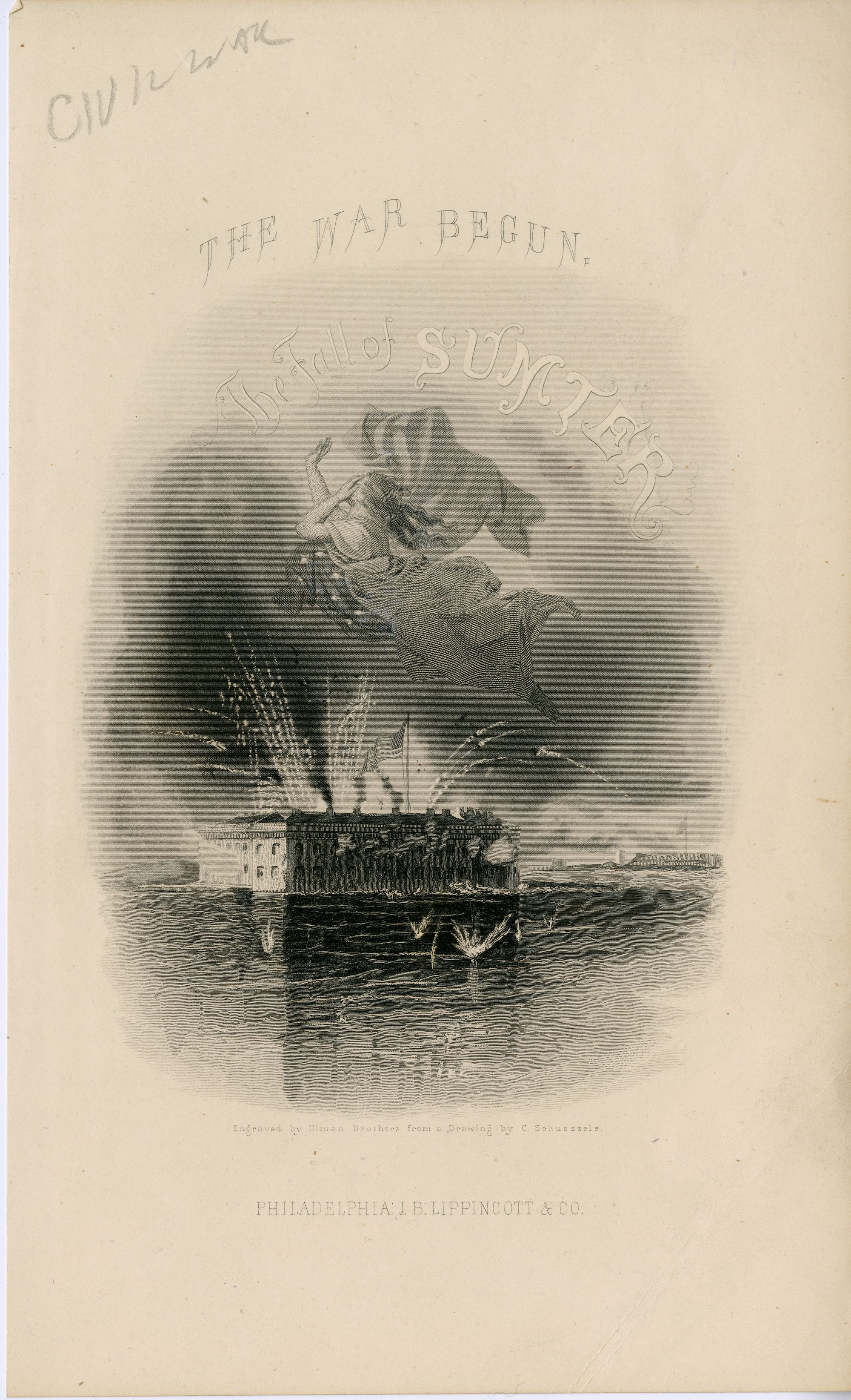 """April 11, 1861: The Civil War begins as Confederate forces fire on Fort Sumter in South Carolina. This engraving is """"The War Begun. The Fall of Sumter"""" and is by Illman Brothers from a drawing by C. Schuessele. Credit: Warshaw Collection of Business Americana, Civil War series, Archives Center, National Museum of American History."""