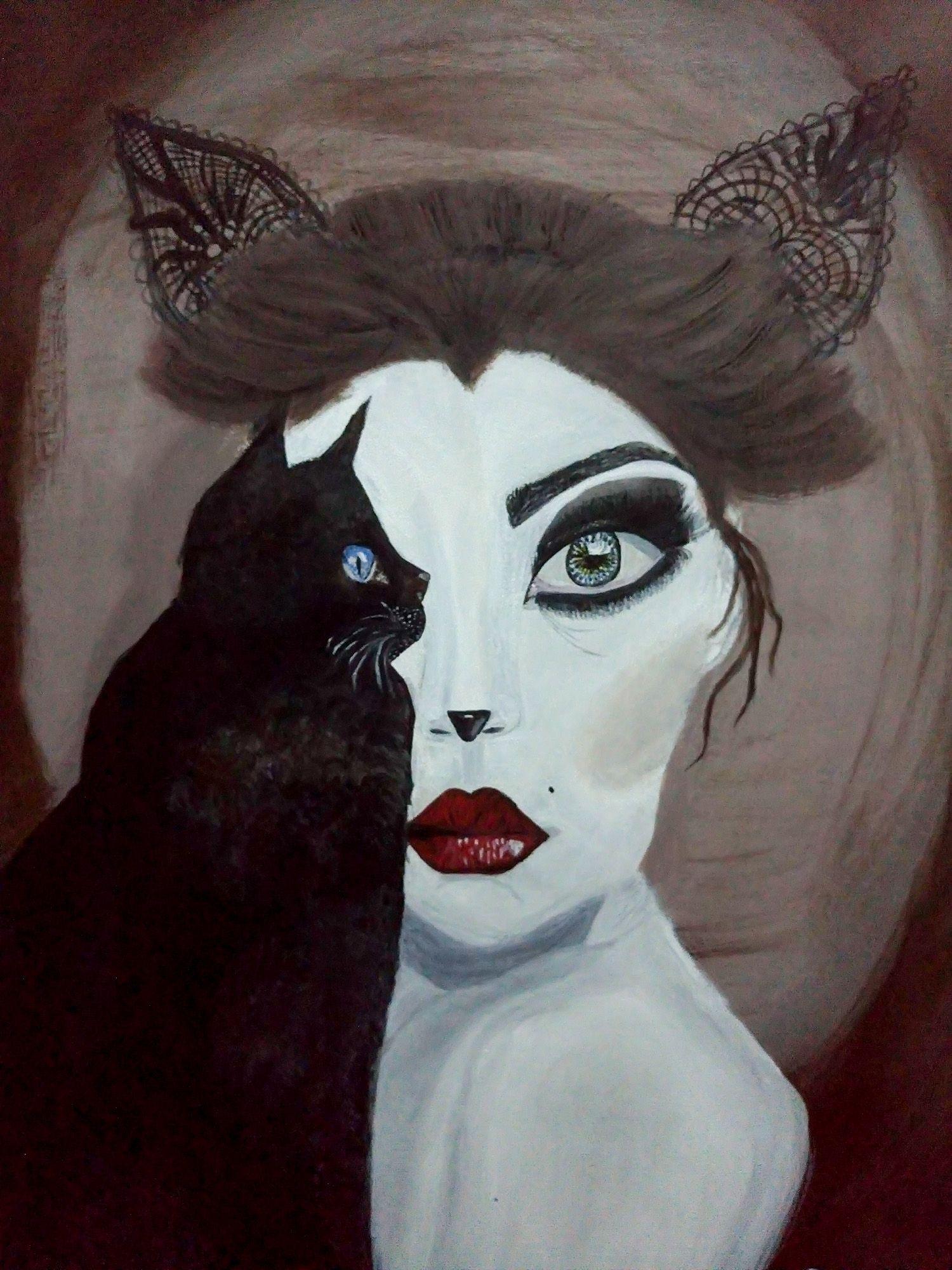 kedi kadın cat woman by burcu cula tuval 252zerine