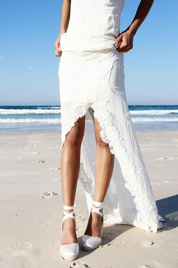 Bridal Espadrille Wedge Ivory and satin, Designer bridal shoe: Gypsy ...