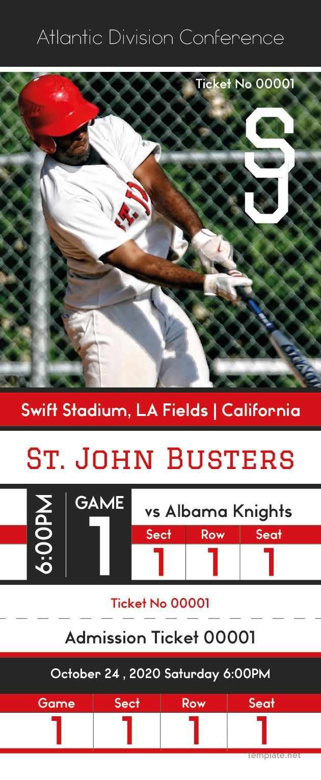 Download Baseball Admission Ticket Template for Free in All Formats ...