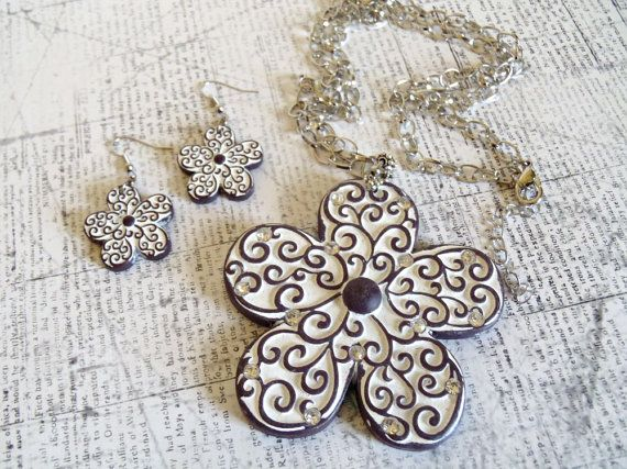 Giant Brown and White Filigree Flower Pendant by AJewelryJar, $18.00