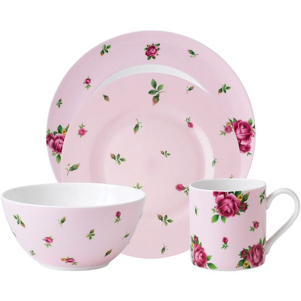 Royal Albert Pink Casual 4 Pc. Dinnerware Set ($35) ❤ Liked On