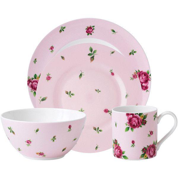 Royal Albert Pink Casual 4-pc. Dinnerware Set ($35) ? liked on  sc 1 st  Pinterest & Royal Albert Pink Casual 4-pc. Dinnerware Set ($35) ? liked on ...
