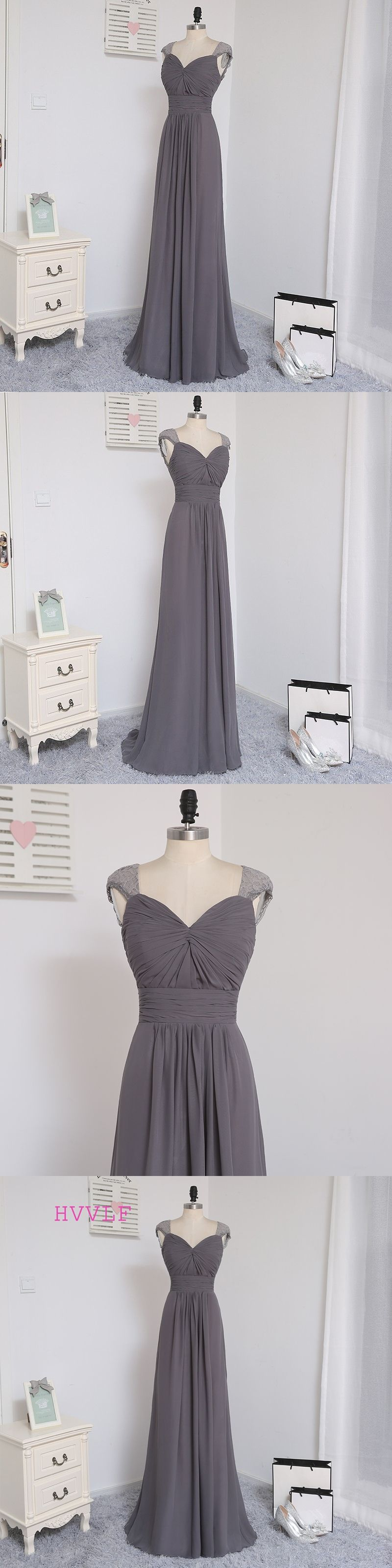 HVVLF 2018 Cheap Bridesmaid Dresses Under 50 A-line Cap Sleeves Gray Chiffon  Lace Open 035a2e51a738