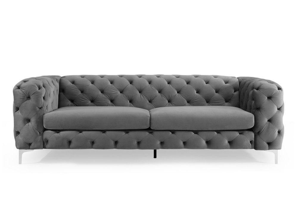 Elegantes Chesterfield 3er Sofa Modern Barock 240cm Grau Samt Riess Ambiente De 3er Sofa Samt Sofa Und Modernes Sofa
