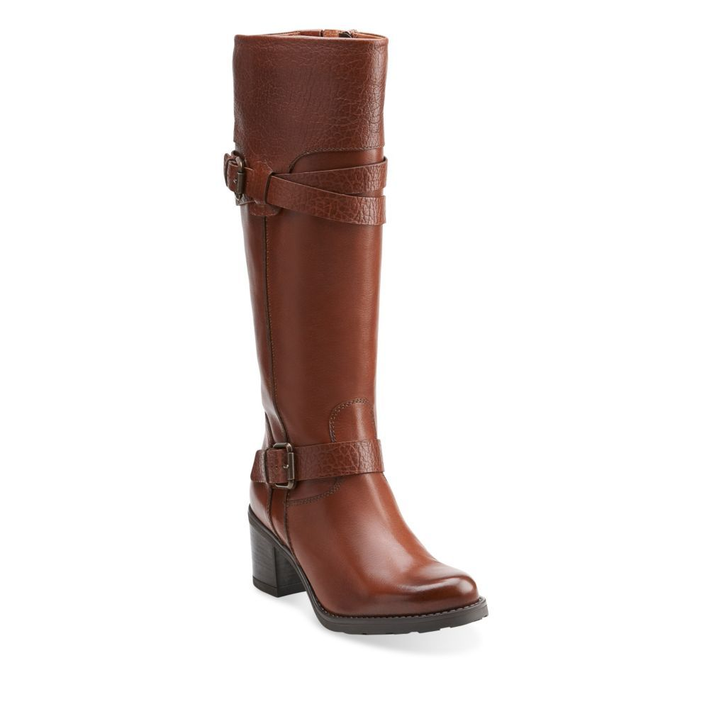 Fernwood Oasis Rust Leather  Womens Knee High Boots  Clarks Shoes