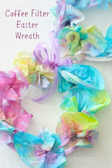 Coffee Filter Easter Wreath For Kids Easter For Kids Family