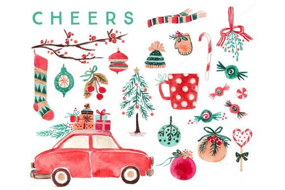 Watercolor Christmas Clip Art Set by RhianAwni on Creative Market