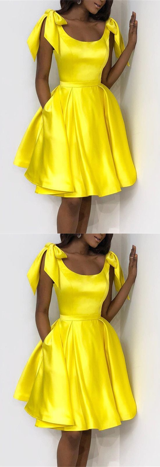 Yellow short homecoming dresses with bowknot on shouder under