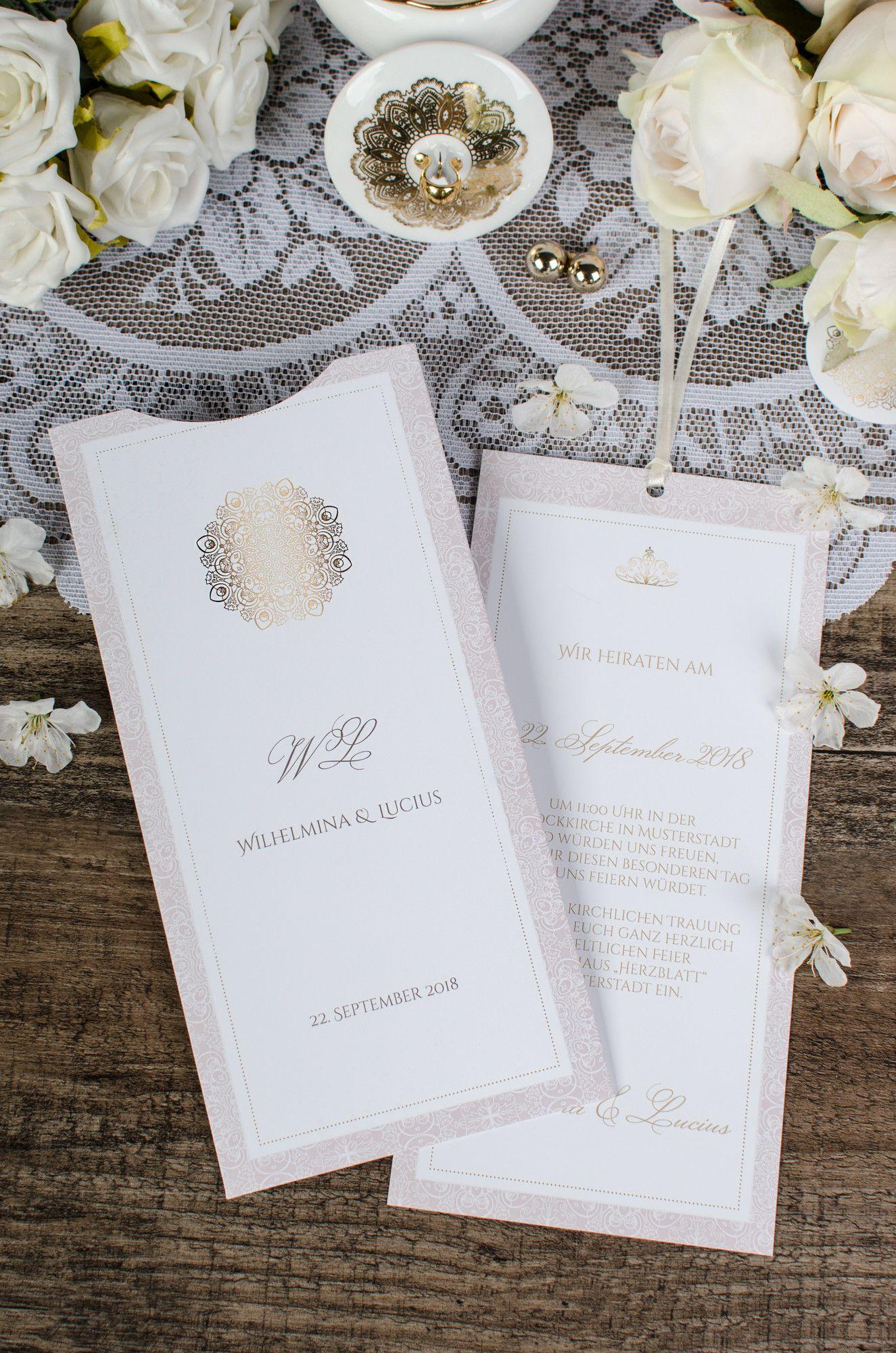 Klassisch elegante einladung zur hochzeit in rosa und gold als moderne einsteckkarte im design wilhelmina