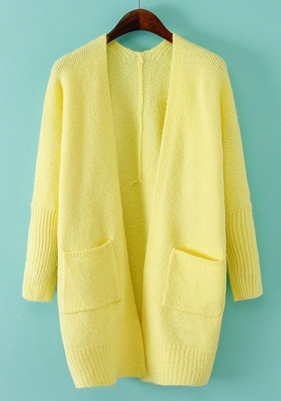 Yellow Plain Pockets Long Sleeve Cardigan | Cosplay, Costumes and ...