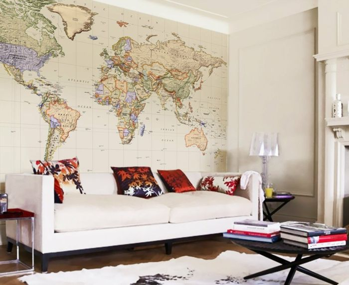 Ziegelwand Wohnzimmer ~ Weltkarte wand wohnzimmer wandtapete akzentwand wanddekoration