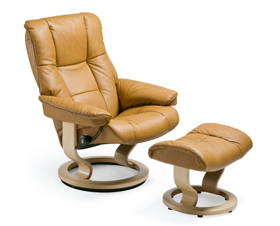 Ekomes Stressless chair. Super comfy but not too big. Also