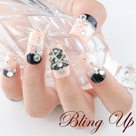 Japanese nail art air brushed nail tips with 3d black glitter japanese nail art air brushed nail tips with 3d black glitter christmas tree nail nailtips prinsesfo Image collections
