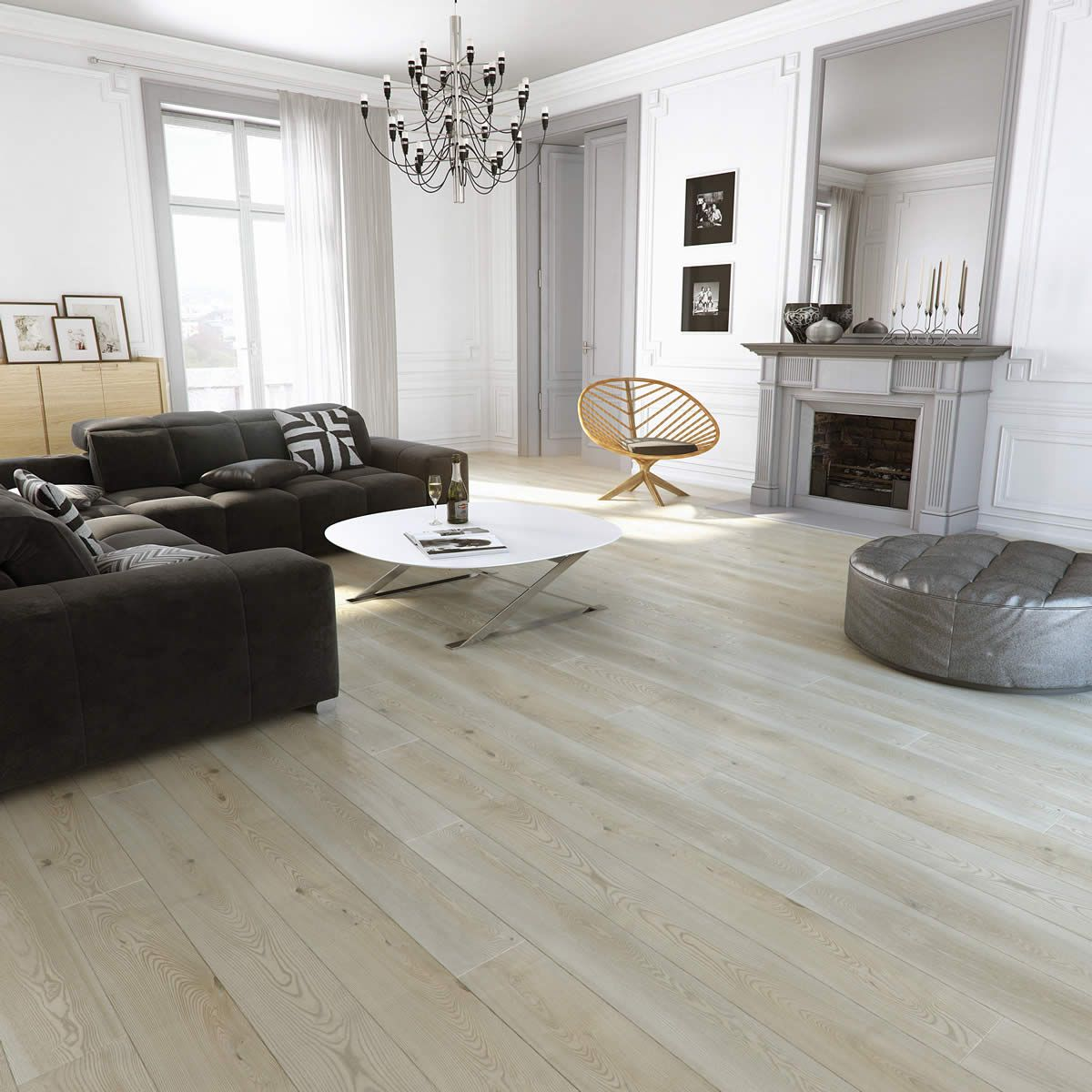Barlinek Ash Puerto Rico is an engineered plank floor with a brushed grey  matt lacquer finish - Barlinek Ash Puerto Rico Is An Engineered Plank Floor With A