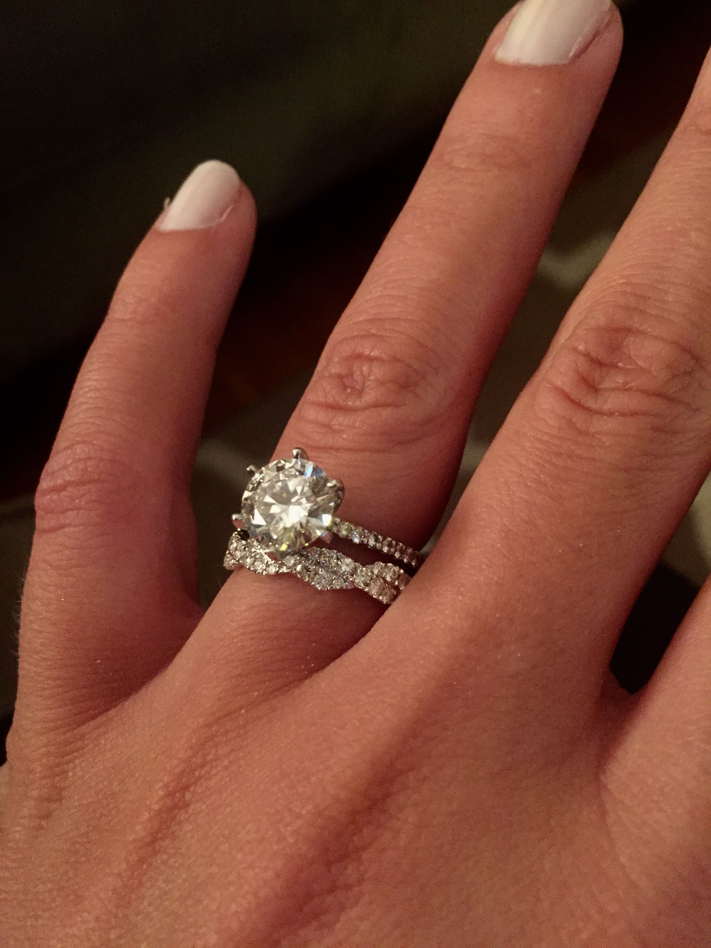 Engagement ring wedding band combo round diamond with