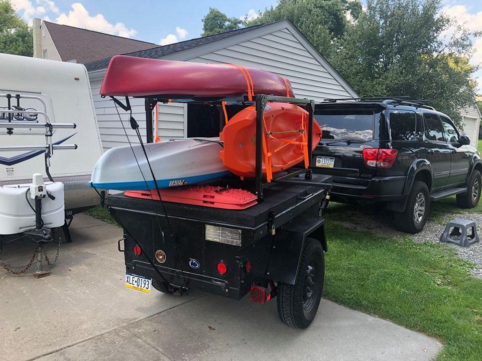 Adam S M416 Trailer Setup With A No Weld Corner Bracket Rack For Hauling His Fleet Of Kayaks Top Tents Jeep Trailer Roof Top Tent