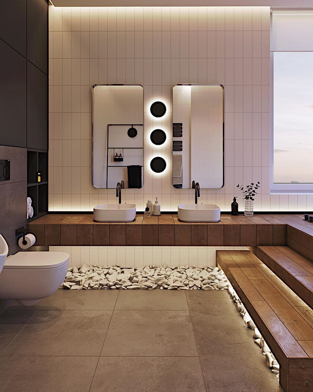 Reimagine Your Bathroom With Trendy Sconces And Ambient Led Lighting And Save 12 On All L Modern Bathroom Design Beautiful Houses Interior Bathroom Interior