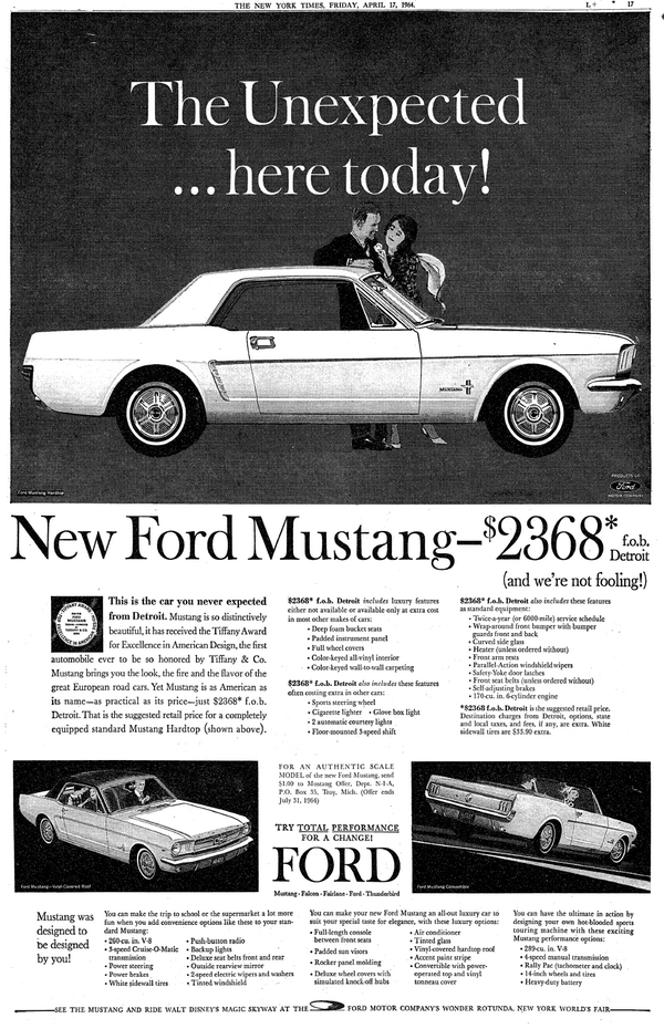 Original Ny Times 1964 1 2 Ford Mustang Ad Look At Cost Zeckford Mustangmonday