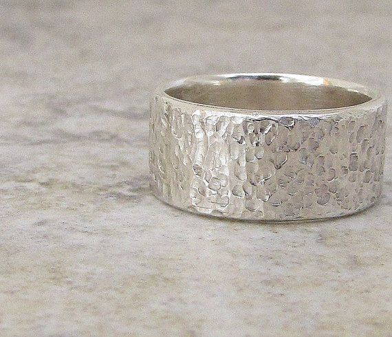 Mens Silver Ring Hammered Wedding Band Distressed By Silversmack