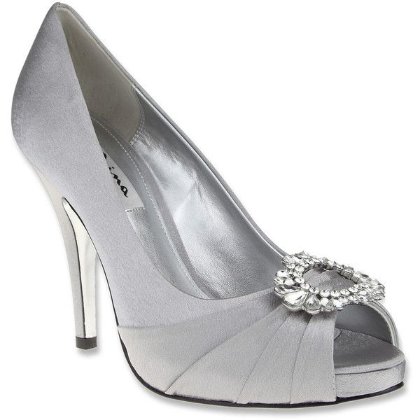 Women's Peep Toe Pumps/Nina Elvira Silver Royal Satin