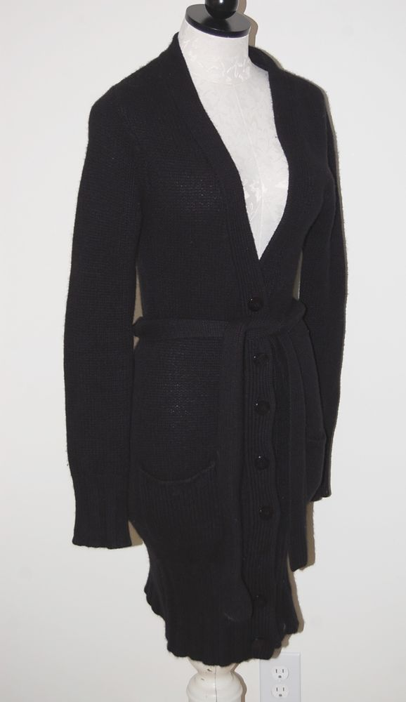 Bergdorf Goodman 100% Cashmere Long Thick Black 8ply Cardigan ...