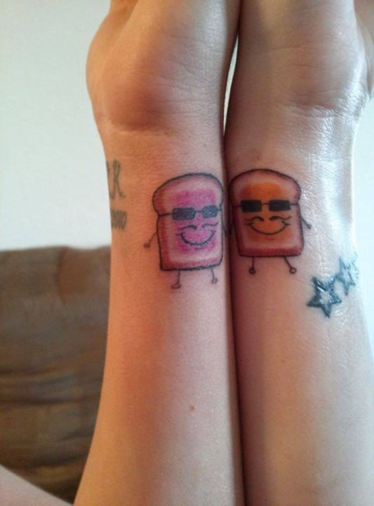 Peanut Butter Jelly Best Friends Tattoos With Mustaches And