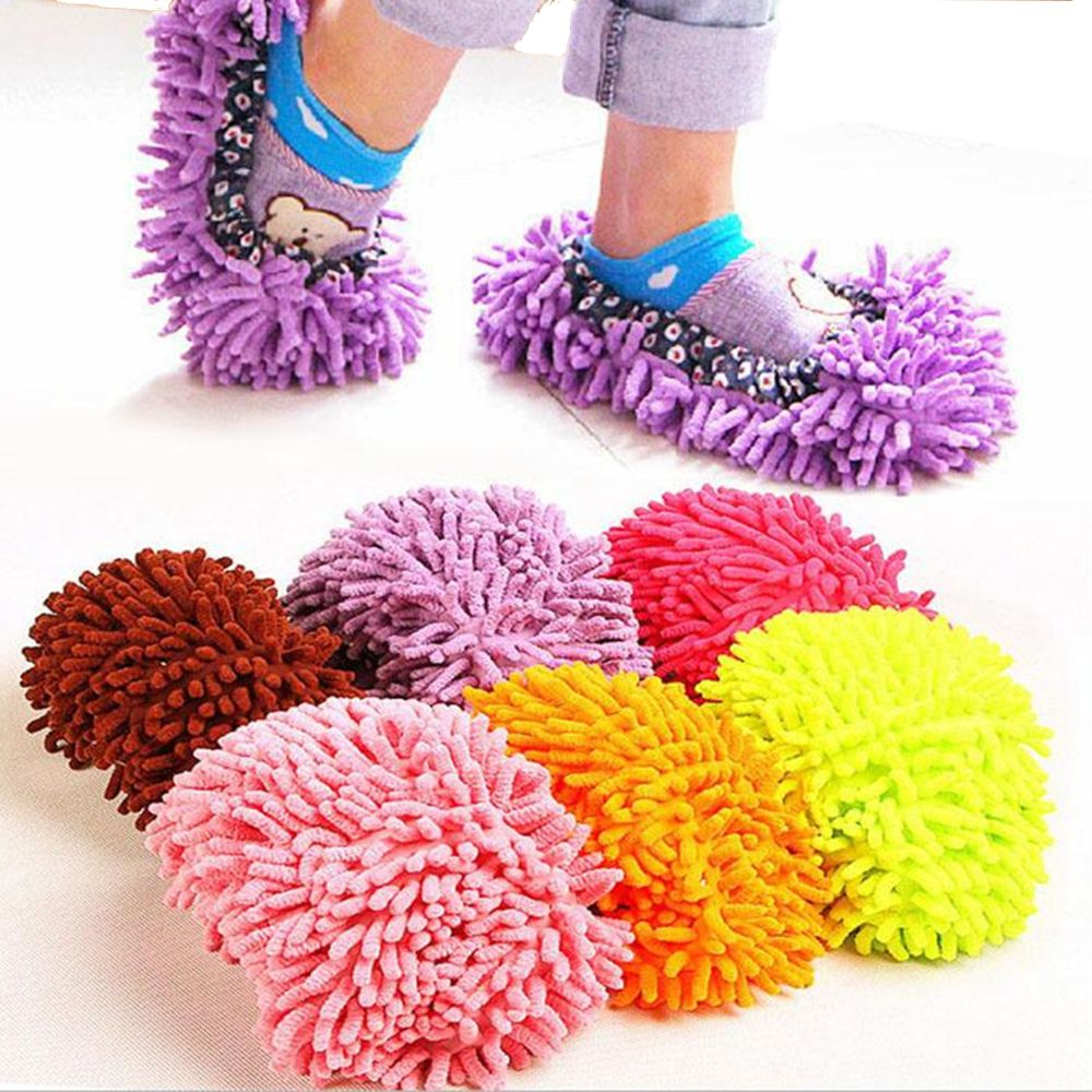 Washable Dust Mop Slippers Lazy House Floor Shoe Cover for Home Cleaning Tool