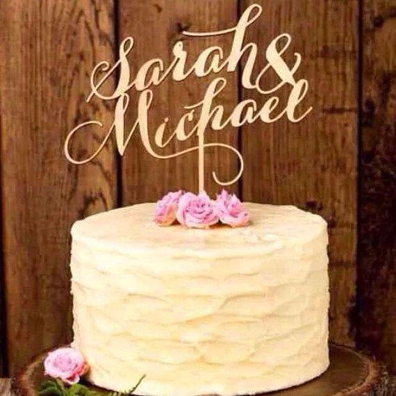 Custom Personalised Gold Wedding Cake Topper Wedding Topper