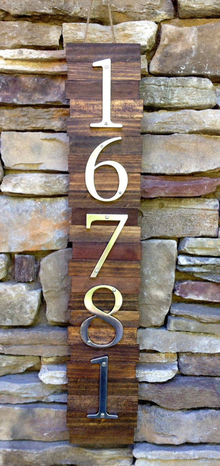 Decorative House Number Plaque  5  s   Wooden Plaque Hanger w  Metal     Wooden Plaque Hanger w  Metal Numbers  Hanging Wooden House Number Plaque   Suits Modern Rustic Style  by MKatesDesigns on Etsy