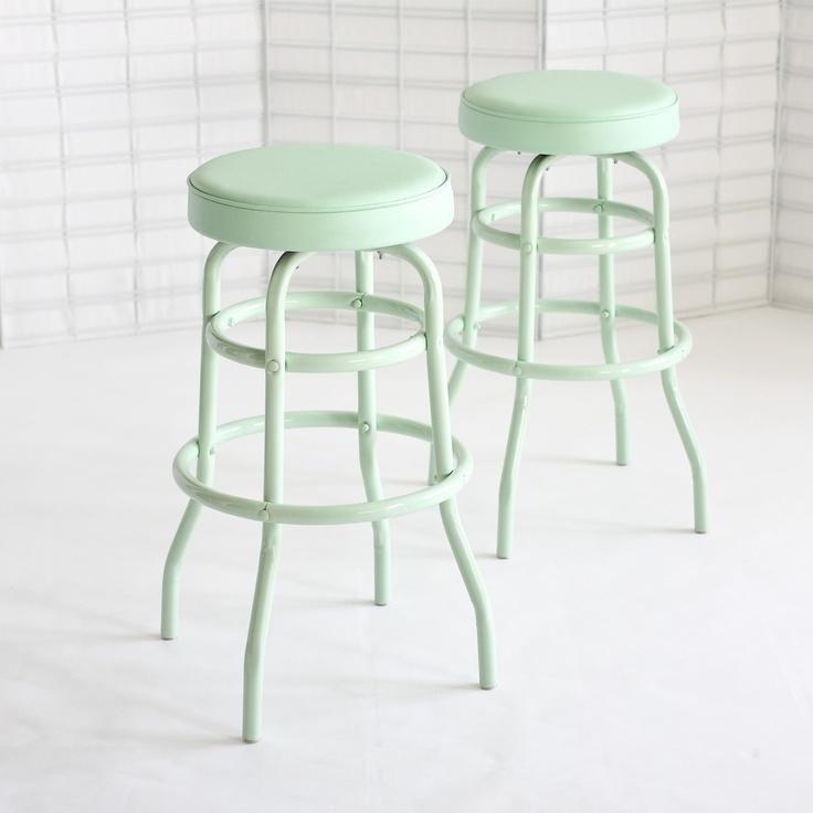 Green Kitchen Stools: Diner Stools Mint Pair