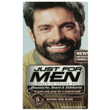 Just For Men Brush In Colour Gel Real Black (M55) Facial Hair ...