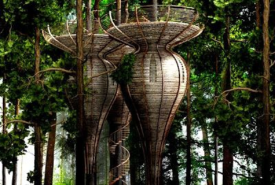 Looking like some treetop dwellings for the Elves of Lothlorien in JR Tolkiens Lord Of The Rings, Antony Gibbon's Roost Treehouses are designed to copy the curvaceous and organic forms found in Nature.  The intention was to create a treehouse using materials from sustainable sources that blended in and almost became part of the tree, being camouflaged by the surrounding foliage.