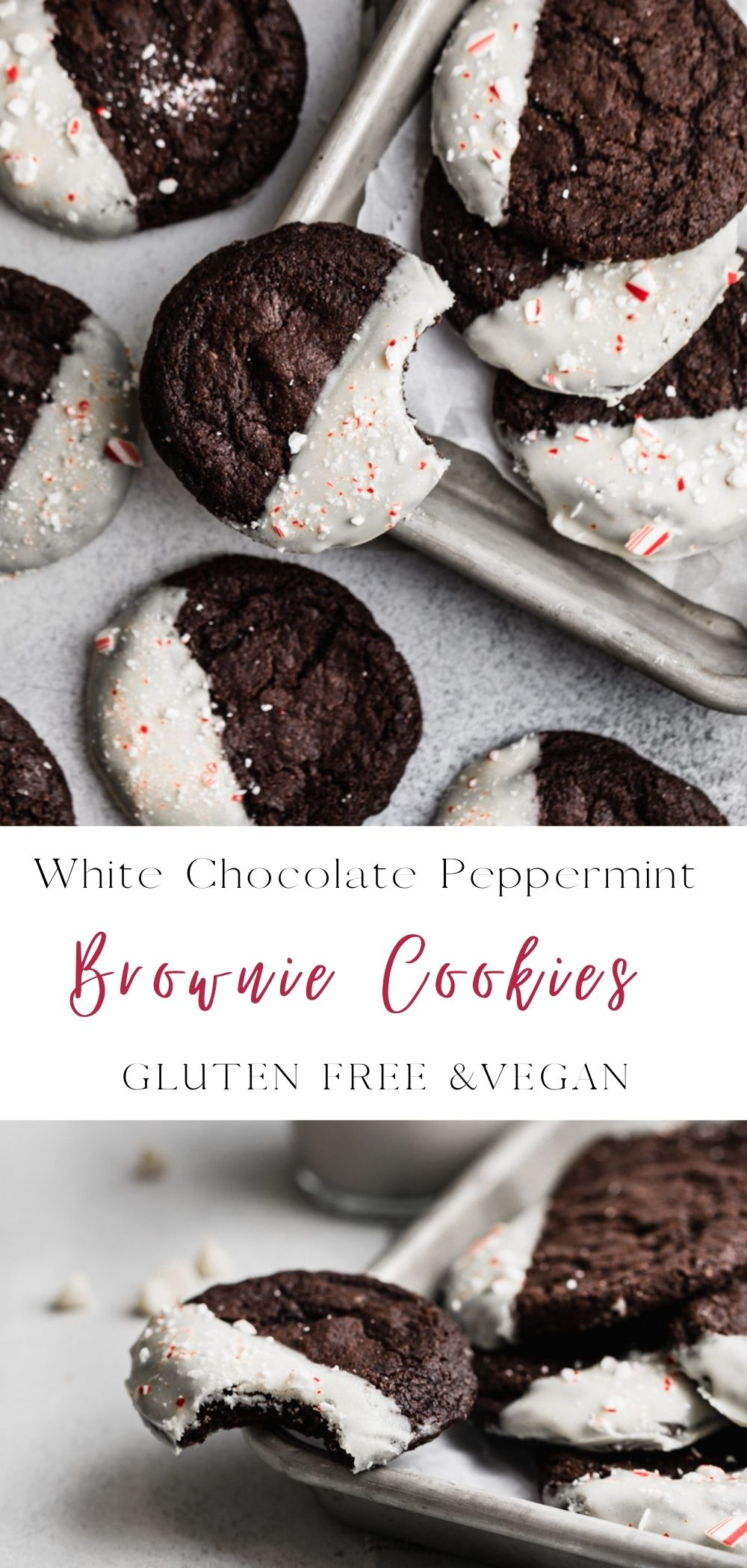 White chocolate peppermint cookie recipes. Easy to make dark chocolate brownie cookies white chocolate dipped and topped with candy cane piececs. This gluten free chocolate cookie is a perfect addition to your cookie box. Also made vegan! #cookierecipes #cookies #vegeandesserts veganrecipes #peppermint #brownies #glutenfreerecipes #glutenfreedesserts #glutenfreebaking