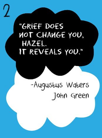 Grief does not change you, Hazel. It reveals you. ~ John ...