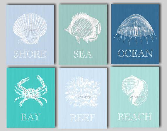 Beach art beach prints nautical art nautical decor beach house art seashell art seashell print octopus fish crab