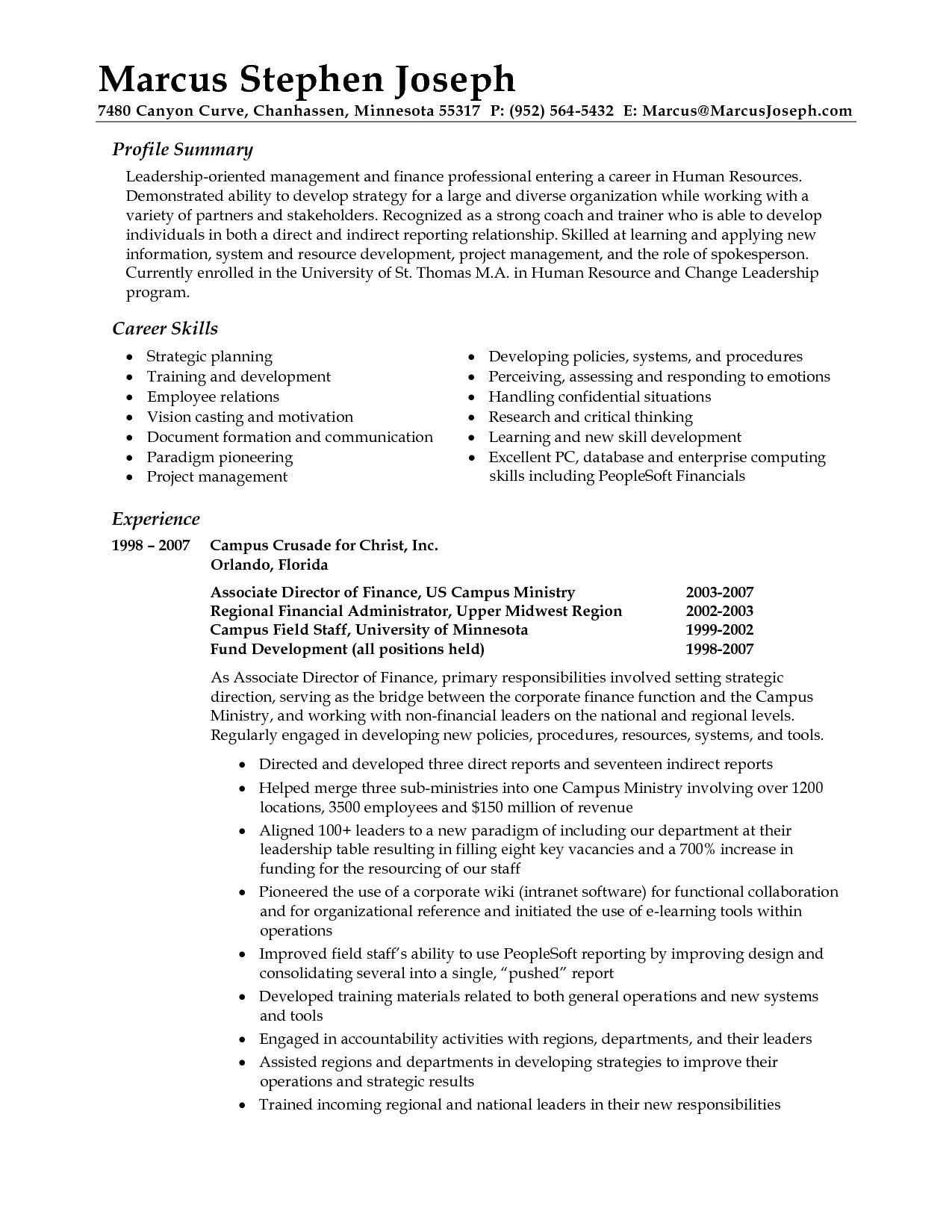 sample resume professional synopsis example