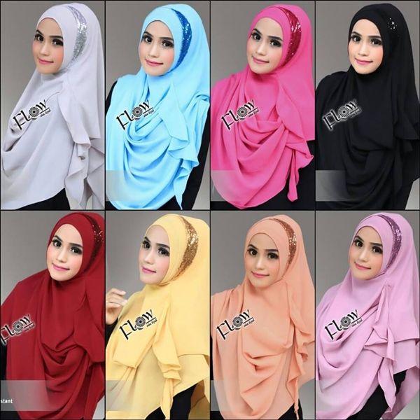 Hijab Pashmina Instan Moon Model Kekinian 2017 Dihiasi Sequin Bentuk Bulan Sabit Di Pinggir Wajah Praktis Tanpa Peniti Tidak Pa Kerudung Hijab Pakaian Wanita