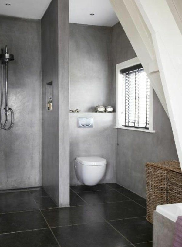 20 Trendy Gray Bathroom Interiors In Contemporary Style Small Bathroom Concrete Bathroom Bathroom Interior