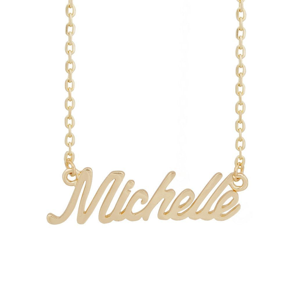 Name milchelle pendant golden chain necklace products pinterest