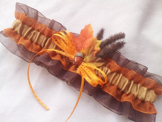 Wedding Garter Autumn Fall Leaves Leaf and Cat Tail Wedding Bridal Garter on Etsy, $23.00