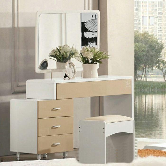 schminktisch mit spiegel weiß beige und kommode | Spiegel Modelle ...