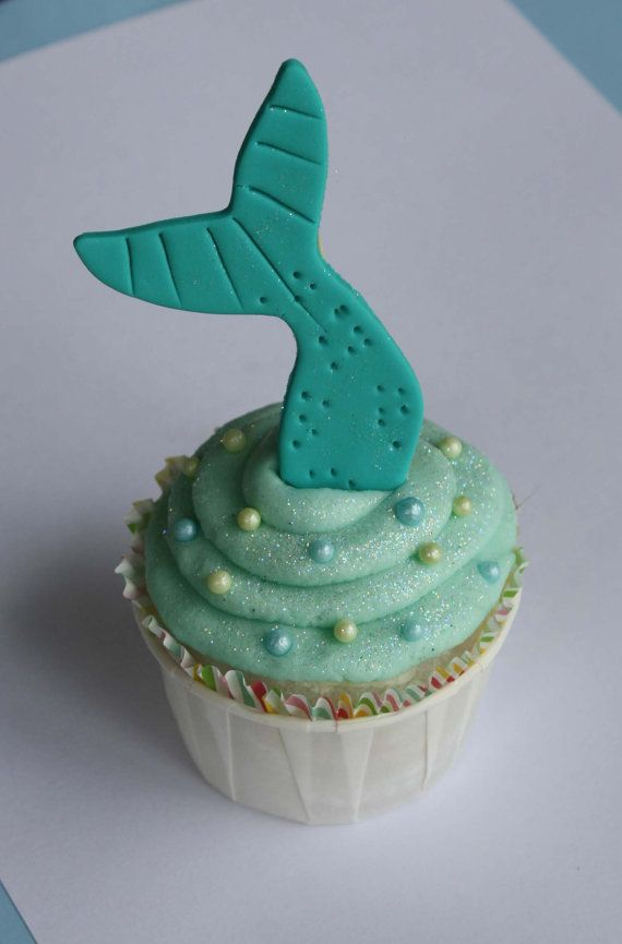 Cupcake Decorating Ideas Under The Sea : Mermaid Tail Fondant Cupcake Toppers by ...