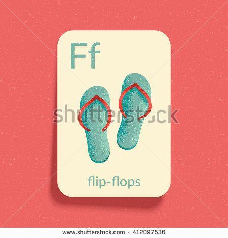 "Alphabet Flash Card for play and Education. Letter ""F"" is for Flip-flops. Vintage design illustration. Easy printable. Eps10 vector illustration."
