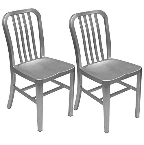 Alex Land Modern Brushed Aluminum Dining Chair Indoor Or Outdoor