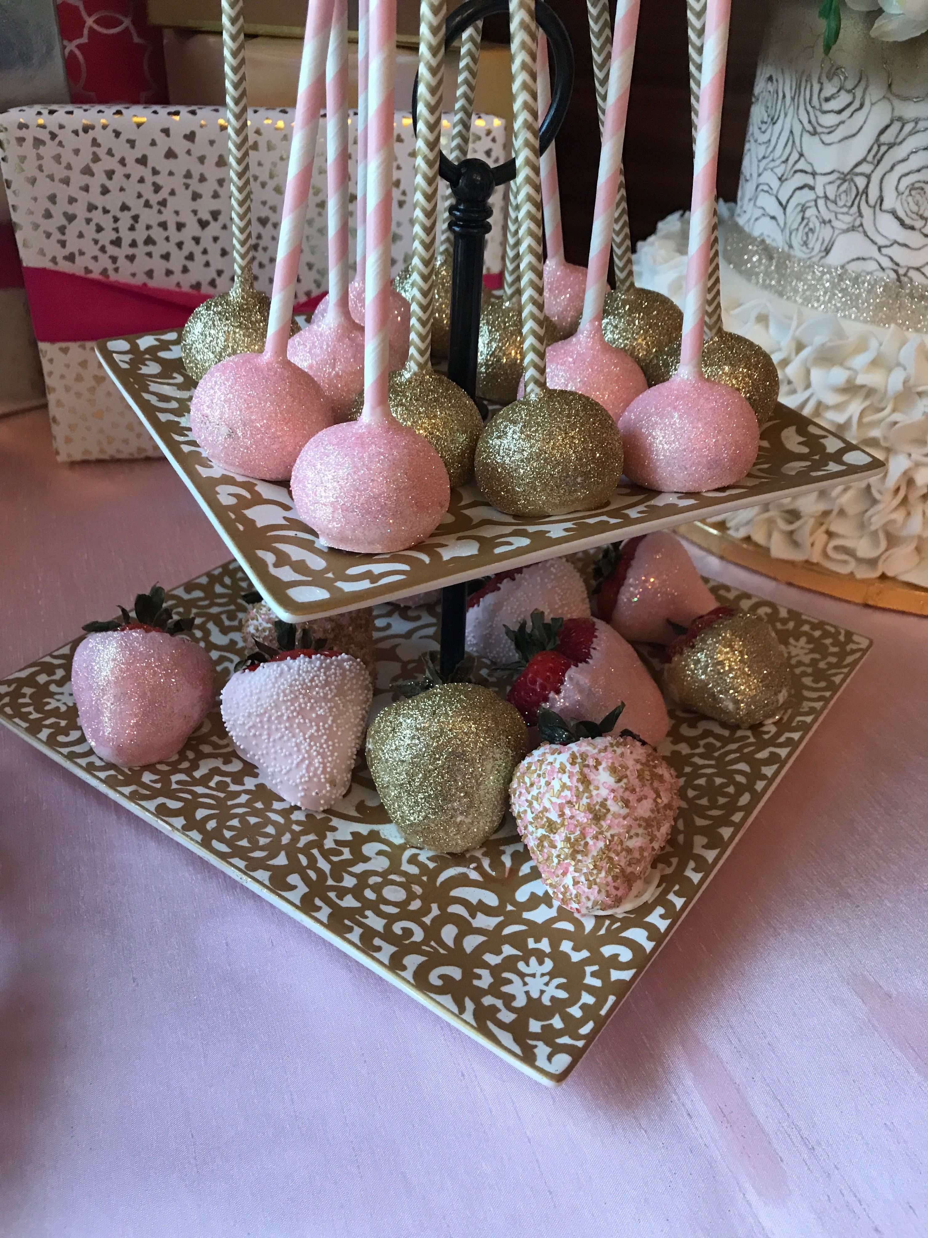 Chocolate covered strawberries and glitter cake pops oh