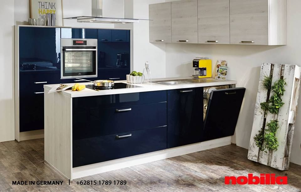 Nobilia Kitchen The combination of blue and white high gloss - nobilia küchen farben
