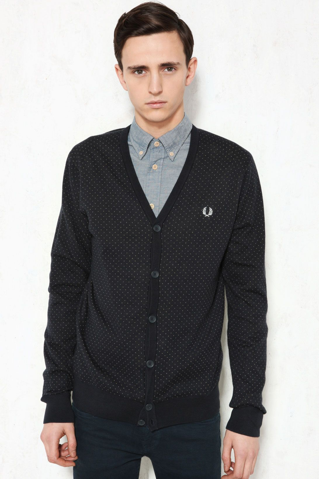 Fred Perry Micro V Dot Knitted Cardigan in navy $136